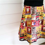 Aline Skirt Coffee Print Cotton Skirt Vintage Look